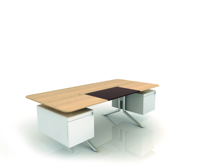 3- desk with 2 hanging peds NC