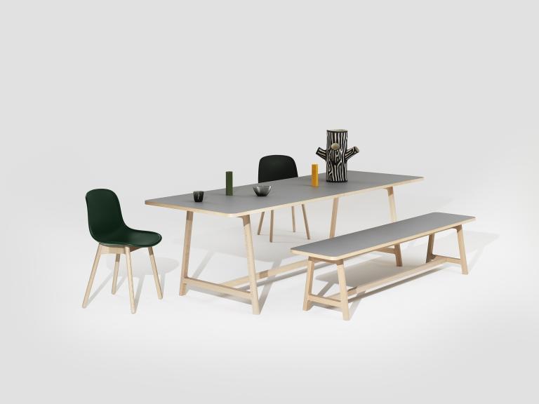 Frame Table Bench beech matt lacquer lino grey catalogue