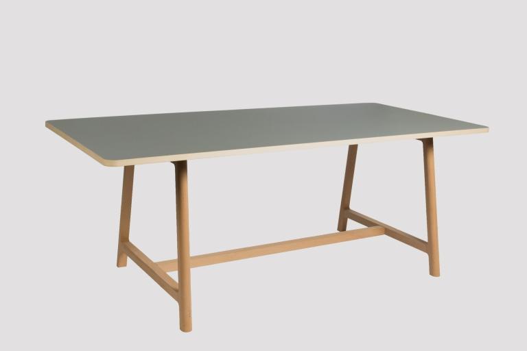 Frame Table L200 Beech Matt Lacquer Lino grey 01