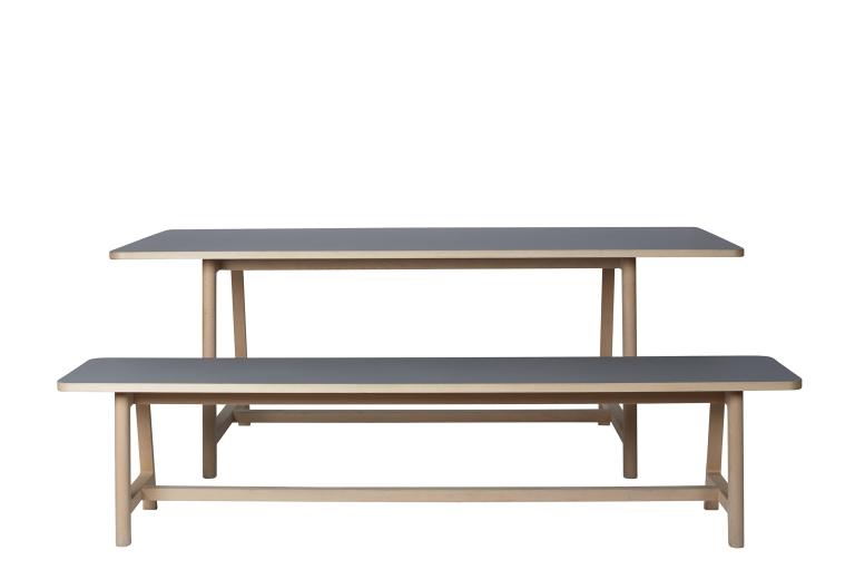 Frame Table L200 Bench L200 Beech Matt Lacquer Lino grey