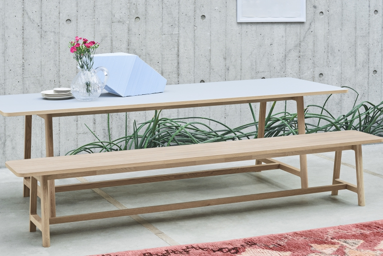 Frame Table and Bench L200 Oak Matt Lacquer Lino grey catalogue